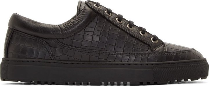 ... Etq Amsterdam Black Croc Embossed Low Top Sneakers ... c6968bece164