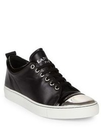 Lanvin Leather Low Top Cap Toe Sneakers