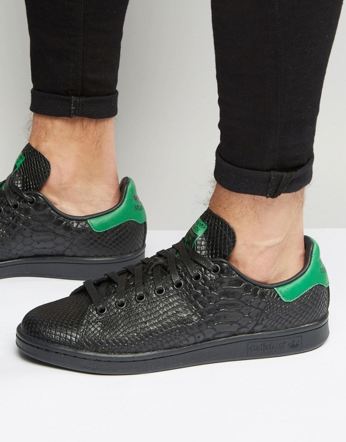 check out 52fb9 b176e ... Top Sneakers adidas Originals Stan Smith Snake Effect Sneakers In Black  S80022 ...