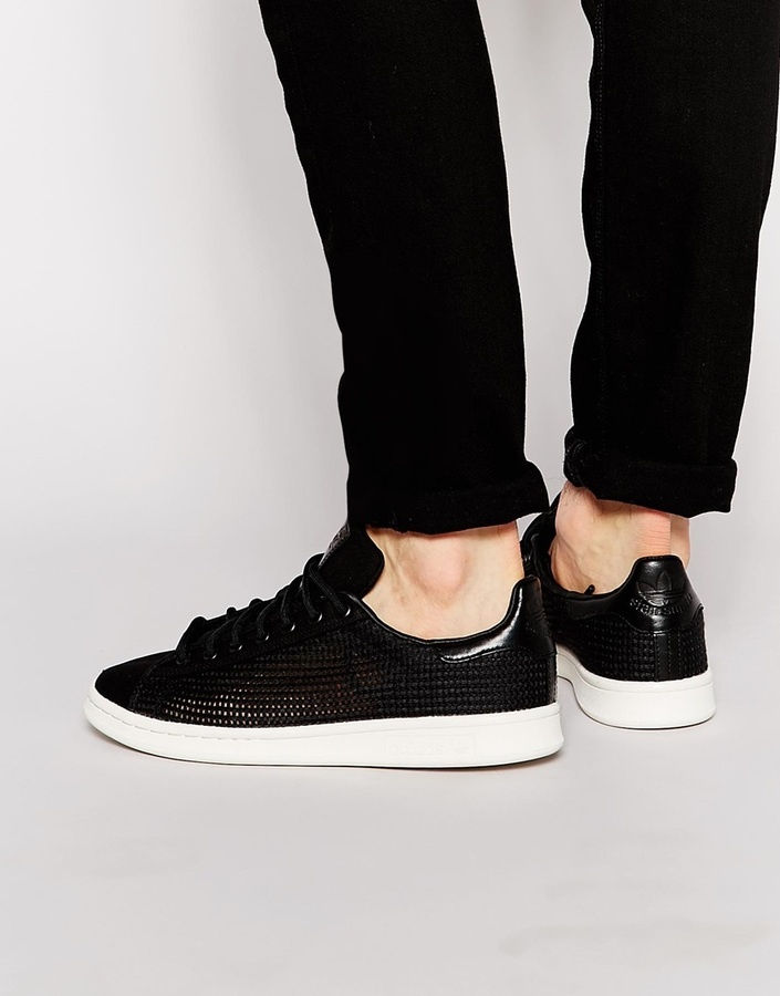 Black Leather Low Top Sneakers adidas Originals Stan Smith Sneakers