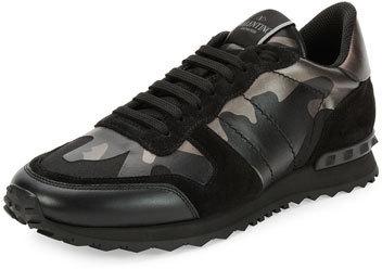 eaa1e1520931 ... Valentino Rockrunner Metallic Camo Print Trainer Sneaker Black ...