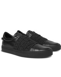 Givenchy Urban Street Logo Jacquard Leather Slip On Sneakers