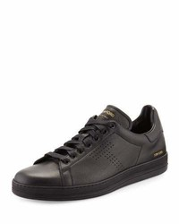 Tom Ford Warwick Grained Leather Low Top Sneakers Black