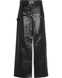 Glossed leather maxi skirt black medium 425297