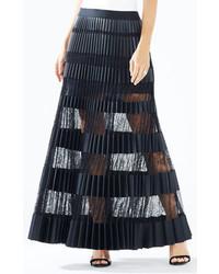 Krissy faux leather striped maxi skirt medium 425298