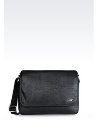 Armani Jeans Messenger Bag In Logo Patterned Faux Leather
