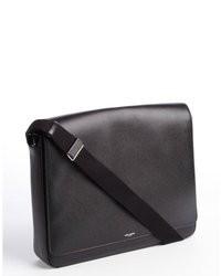 Saint Laurent Black Grained Leather Messenger Bag