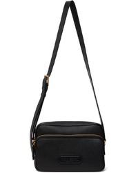 Tom Ford Black Leather Logo Messenger Bag