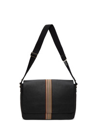 Paul Smith Black Leather Signature Stripe Messenger Bag
