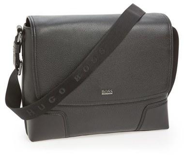 Black Leather Messenger Bags Hugo Boss Marmle Buffalo Bag