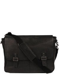 Wilsons Leather Double Magnetic Snap Closure Leather Messenger Bag Black