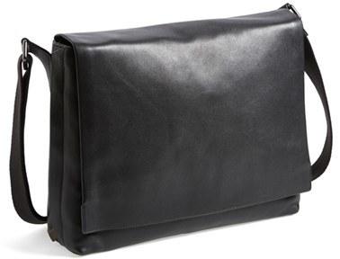 ac279507f1 ... Skagen Eric Leather Messenger Bag Black ...