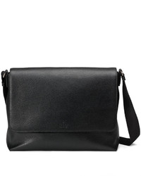 Gucci Leather Medium Flap Messenger Bag Black