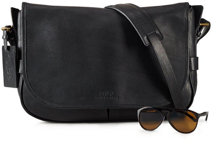 ... Polo Ralph Lauren Leather Messenger Bag ... 0ad1602de4433