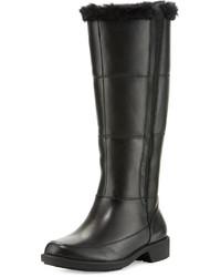 Taryn Rose Abbott Mid Calf Boot With Faux Fur Trim Black
