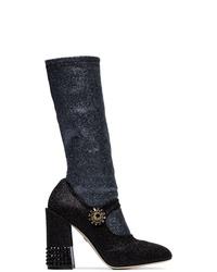 Dolce & Gabbana Black 105 Glitter Sock Insert Leather Boots