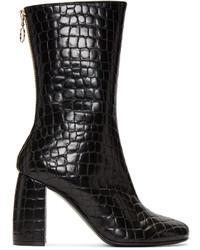 Stella McCartney Black Croc Embossed Boots