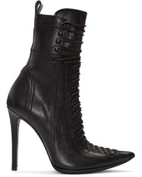 Haider Ackermann Black Lace Up Boots