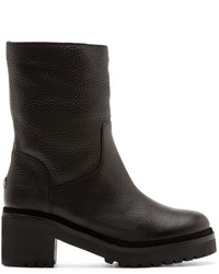 Moncler Black Leather Cassandre Boots