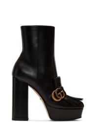 Gucci Black Leather Fringe Gg Platform Boots
