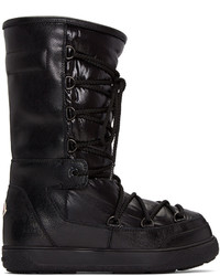 Moncler Black Leather Ltitia Boots