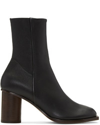 Black stretch nappa square toe boots medium 1151610