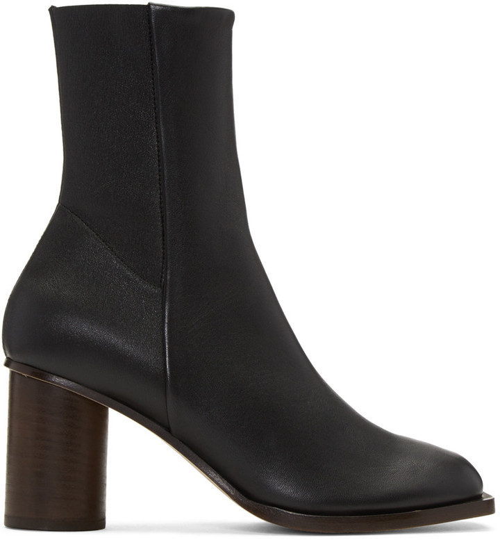 ... Mid-Calf Boots Helmut Lang Black Stretch Nappa Square Toe Boots ...