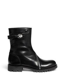 Alexander McQueen Curve Skull Zip Leather Boots