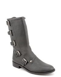 Cynthia Vincent Walker Black Leather Fashion Mid Calf Boots