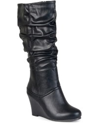 Journee Collection Hana Wide Calf Slouch Wedge Boots
