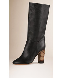 Burberry Mid Calf Leather Boots