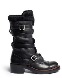 Nobrand Moto Shearling Pebbled Leather Buckle Boots