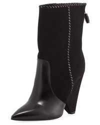 Saint Laurent Niki Mixed Leather Mid Calf Boot Black