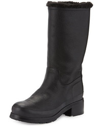 Hunter Original Shearling Lined Leather Mid Calf Boot
