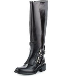 Charles David Perina Mid Calf Leather Boot Black