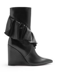 J.W.Anderson Ruffled Leather Mid Calf Boots