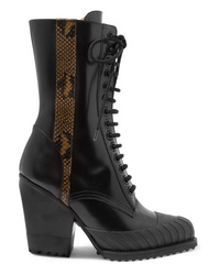 Chloé Rylee Snake Effect Med Glossed Leather Ankle Boots