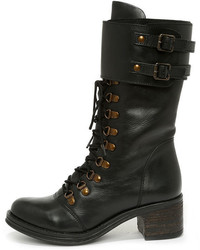Report Signature Fenner Black Leather Mid Calf Combat Boots