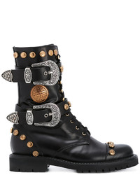 Fausto Puglisi Studded Buckled Mid Calf Boots