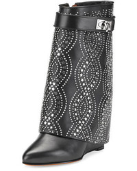 Givenchy Studded Shark Lock Fold Over Bootie Black