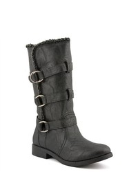UNIONBAY Mode Black Faux Leather Fashion Mid Calf Boots