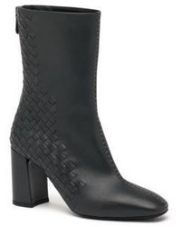 Bottega Veneta Woven Leather Mid Calf Booties
