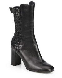 Bottega Veneta Woven Leather Mid Calf Boots