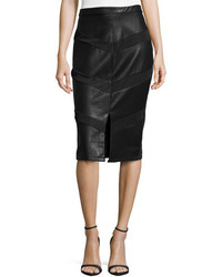 5twelve Paneled Faux Leather Midi Pencil Skirt Black