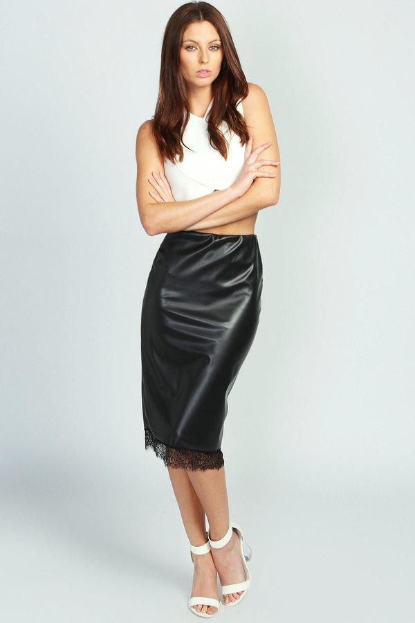 boohoo gracey lace trim pu midi skirt where to buy how