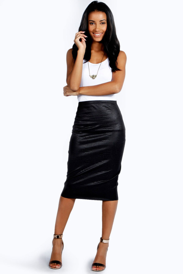 black leather midi skirt boohoo pu crocodile effect