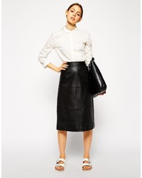 Asos Collection Column Pencil Skirt In Leather