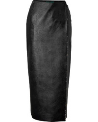 Emilia Wickstead Faux Leather Wrap Skirt With Crystals
