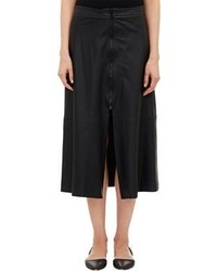 Sea Lambskin Midi Skirt Black