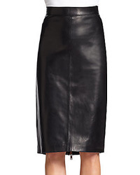 Givenchy Leather Pleated Detail Skirt